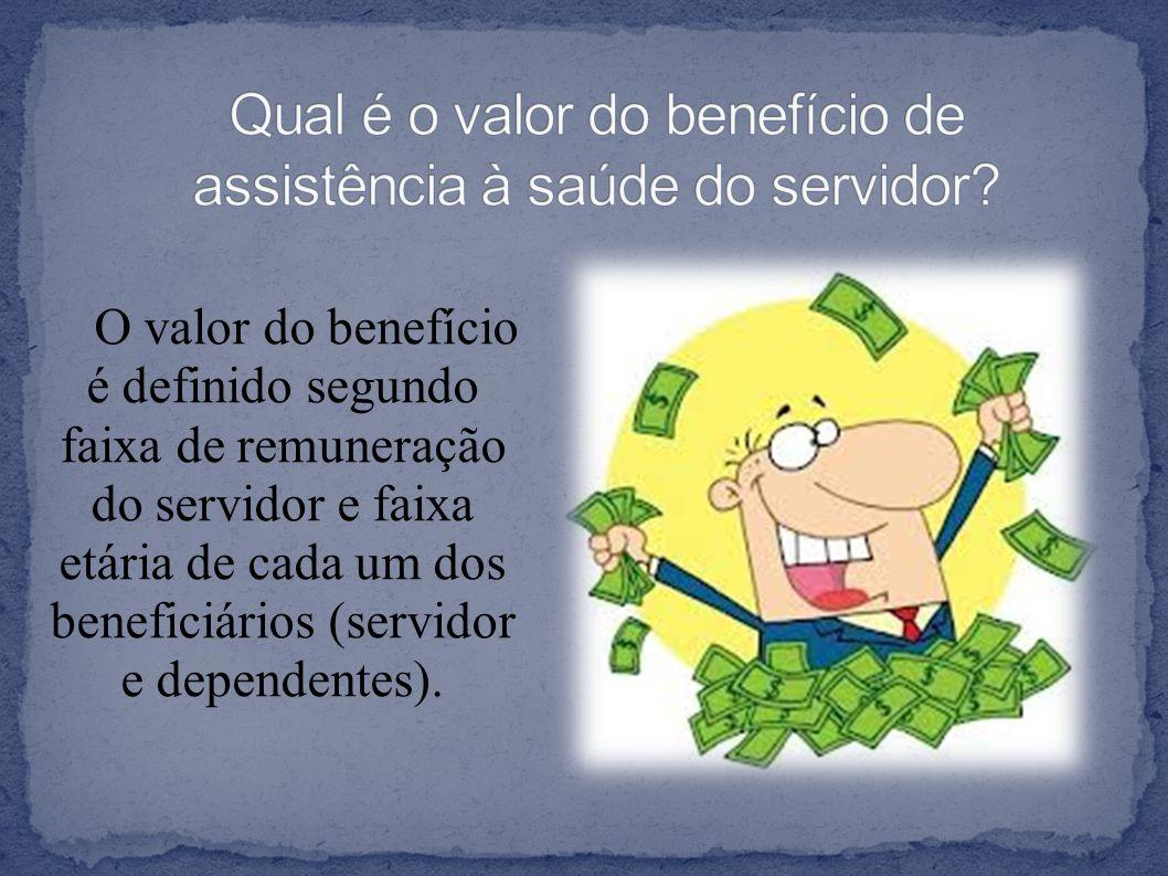 O valor do benefício é definido segundo faixa de remuneração do servidor e faixa etária de cada um dos beneficiários (servidor e dependentes).