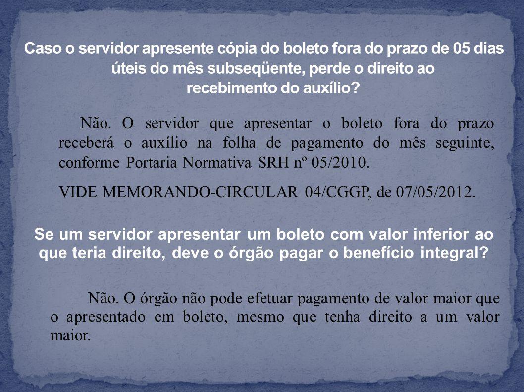 Não. O servidor que apresentar o boleto fora do prazo receberá o auxílio na folha de pagamento do mês seguinte, conforme Portaria Normativa SRH nº 05/