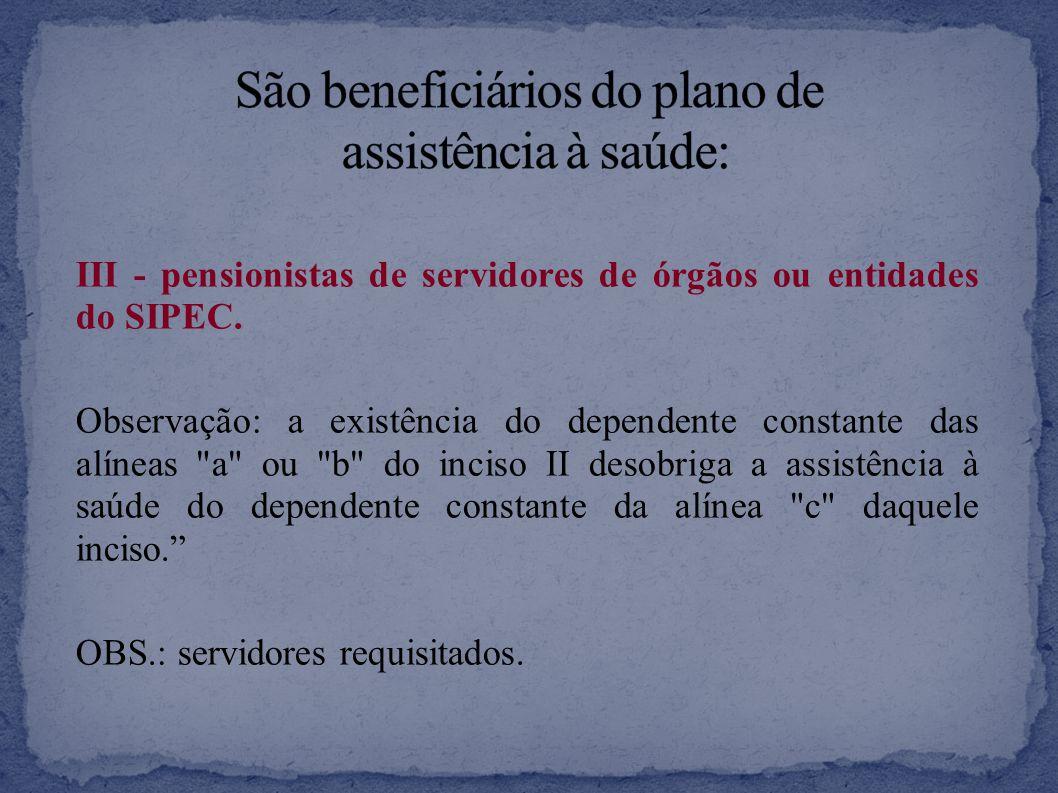 III - pensionistas de servidores de órgãos ou entidades do SIPEC.
