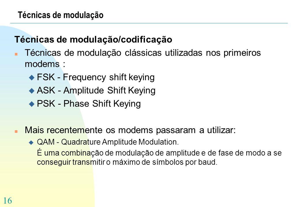 16 Técnicas de modulação Técnicas de modulação/codificação n Técnicas de modulação clássicas utilizadas nos primeiros modems : u FSK - Frequency shift