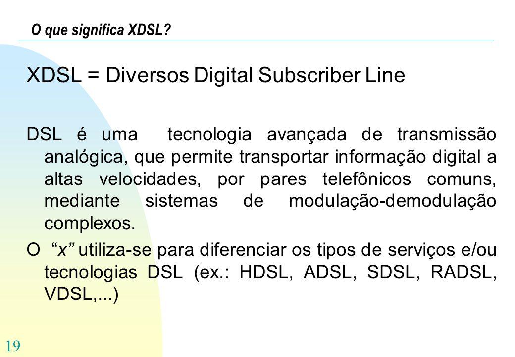 19 O que significa XDSL? XDSL = Diversos Digital Subscriber Line DSL é uma tecnologia avançada de transmissão analógica, que permite transportar infor