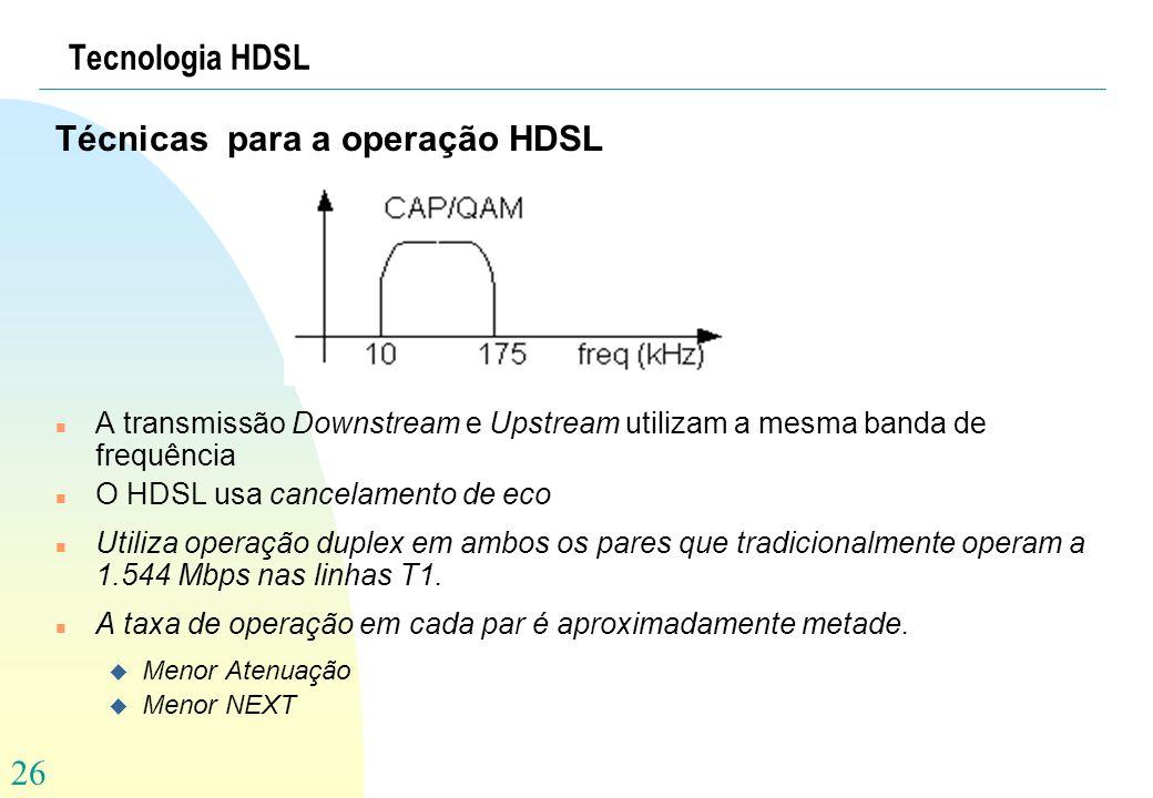 26 Tecnologia HDSL Técnicas para a operação HDSL n A transmissão Downstream e Upstream utilizam a mesma banda de frequência n O HDSL usa cancelamento