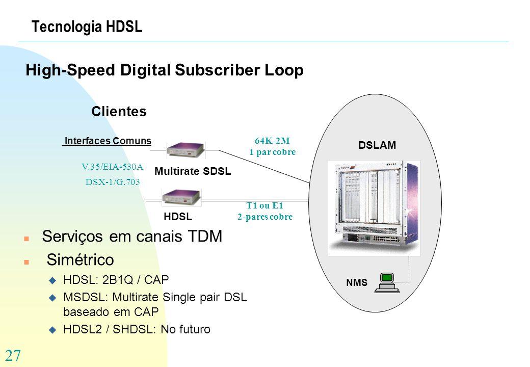 27 Tecnologia HDSL High-Speed Digital Subscriber Loop Clientes NMS Multirate SDSL DSLAM V.35/EIA-530A DSX-1/G.703 64K-2M 1 par cobre HDSL T1 ou E1 2-p