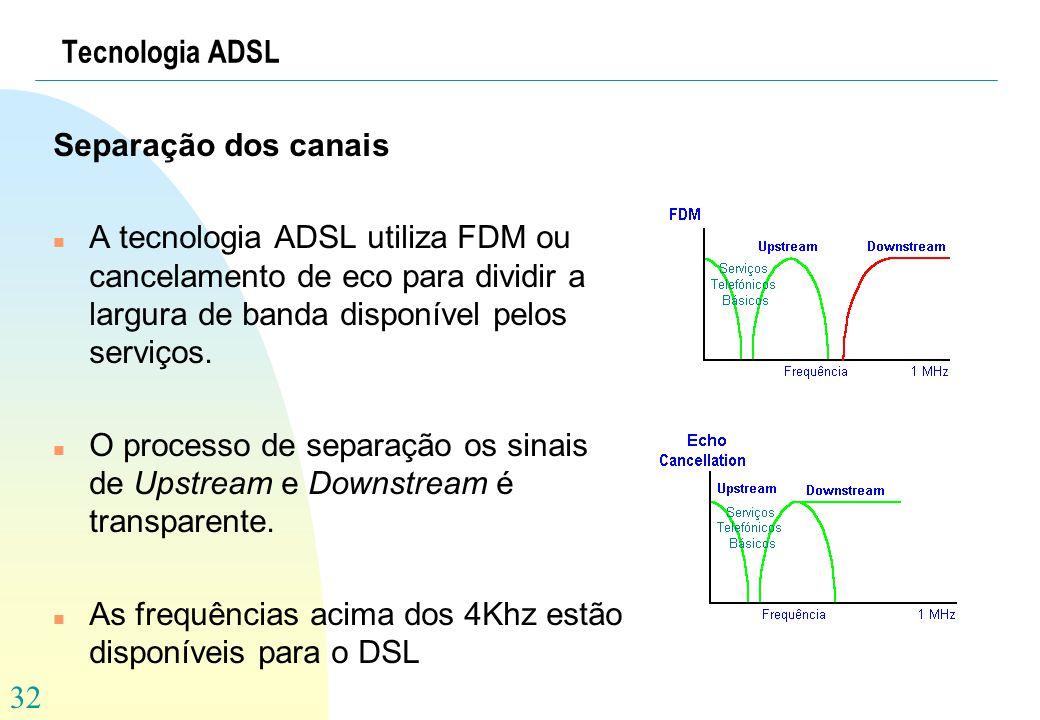 32 Tecnologia ADSL Separação dos canais n A tecnologia ADSL utiliza FDM ou cancelamento de eco para dividir a largura de banda disponível pelos serviç