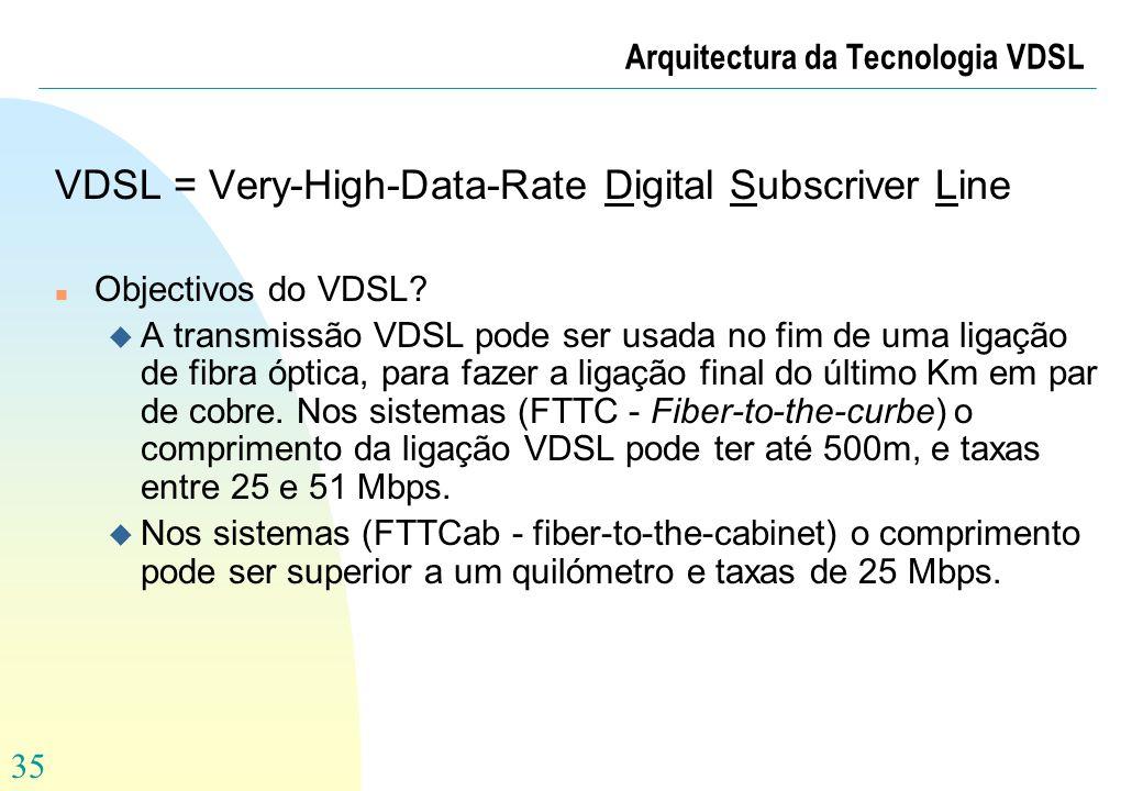 35 Arquitectura da Tecnologia VDSL VDSL = Very-High-Data-Rate Digital Subscriver Line n Objectivos do VDSL? u A transmissão VDSL pode ser usada no fim