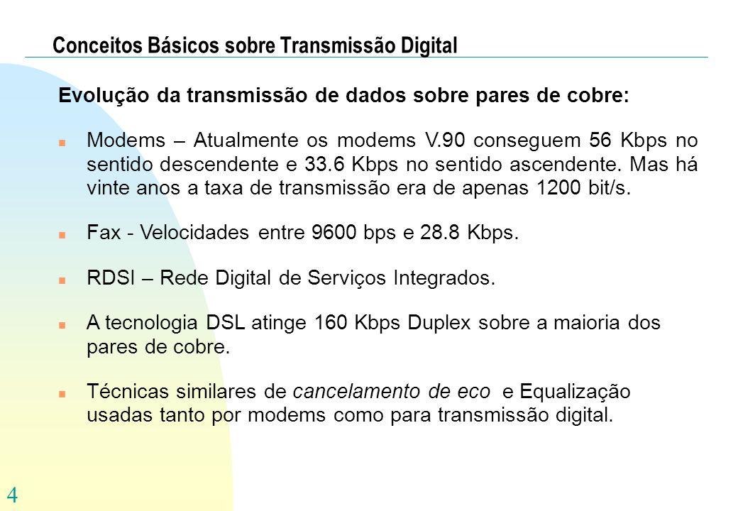 4 Conceitos Básicos sobre Transmissão Digital Evolução da transmissão de dados sobre pares de cobre: n Modems – Atualmente os modems V.90 conseguem 56