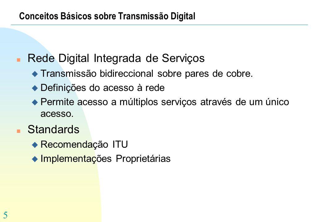 5 Conceitos Básicos sobre Transmissão Digital n Rede Digital Integrada de Serviços u Transmissão bidireccional sobre pares de cobre. u Definições do a