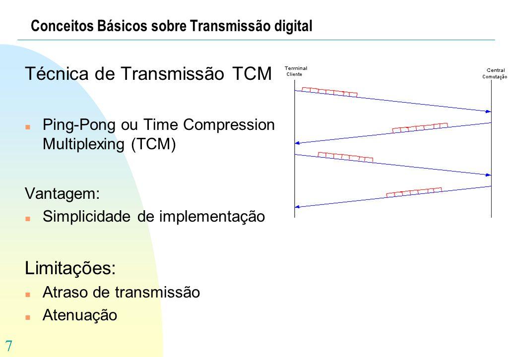 7 Conceitos Básicos sobre Transmissão digital Técnica de Transmissão TCM n Ping-Pong ou Time Compression Multiplexing (TCM) Vantagem: n Simplicidade d
