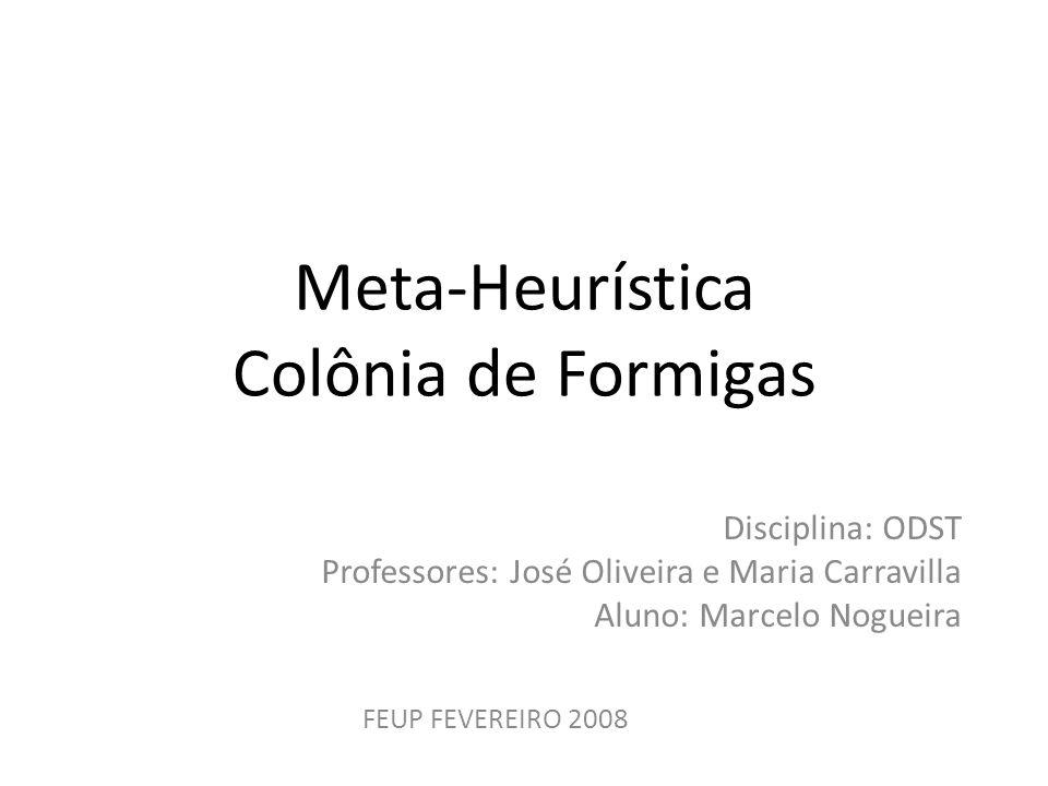 Meta-Heurística Colônia de Formigas Disciplina: ODST Professores: José Oliveira e Maria Carravilla Aluno: Marcelo Nogueira FEUP FEVEREIRO 2008