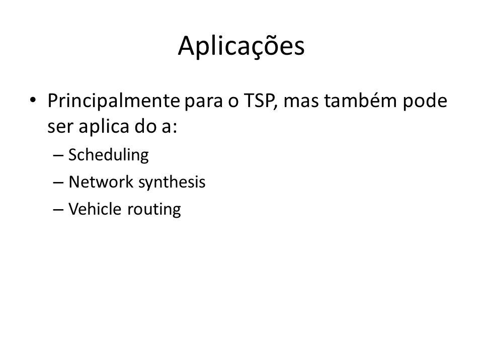 Aplicações • Principalmente para o TSP, mas também pode ser aplica do a: – Scheduling – Network synthesis – Vehicle routing