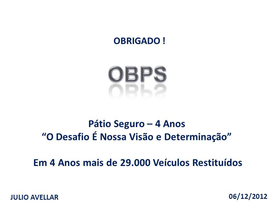 """JULIO AVELLAR OBRIGADO ! Pátio Seguro – 4 Anos """"O Desafio É Nossa Visão e Determinação"""" Em 4 Anos mais de 29.000 Veículos Restituídos 06/12/2012"""