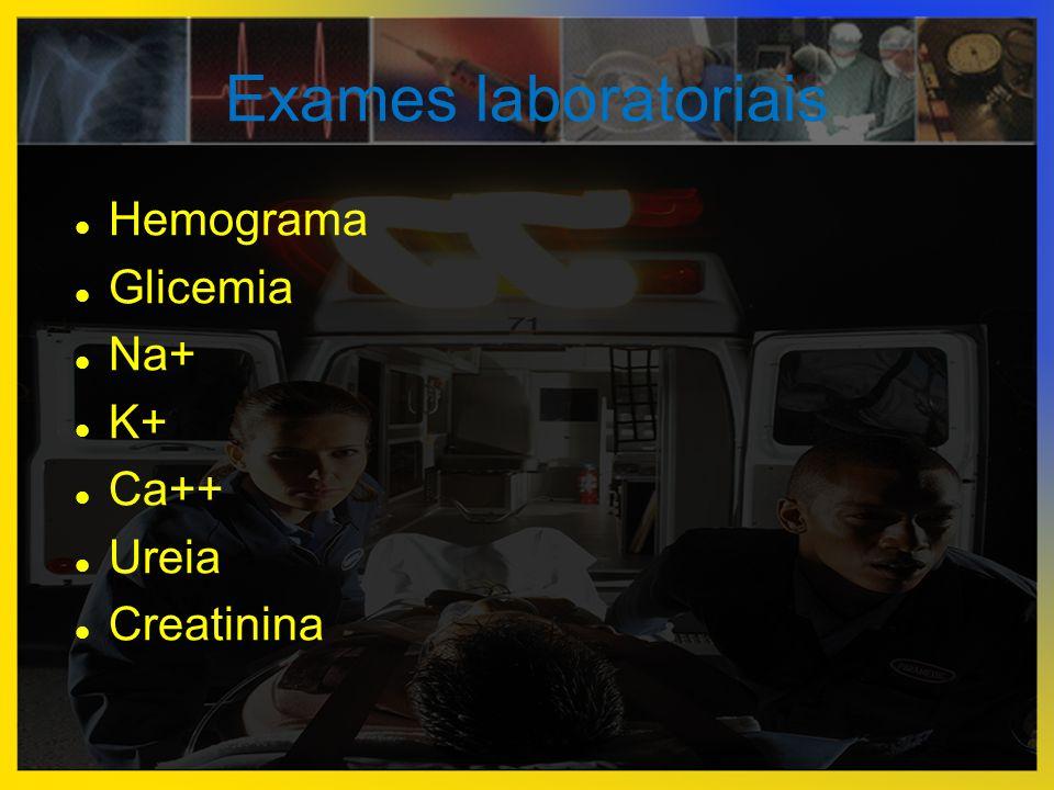 Exames laboratoriais  Hemograma  Glicemia  Na+  K+  Ca++  Ureia  Creatinina