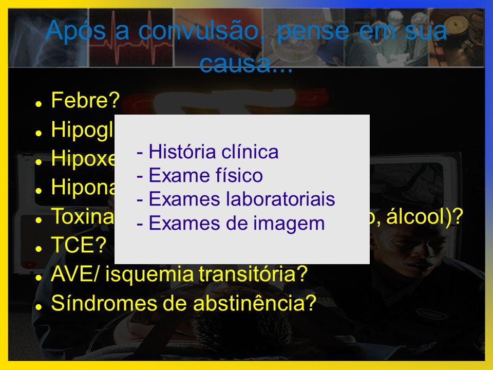 Após a convulsão, pense em sua causa...  Febre?  Hipoglicemia?  Hipoxemia?  Hiponatremia/Hipernatremia?  Toxinas (drogas, envenenamento, álcool)?