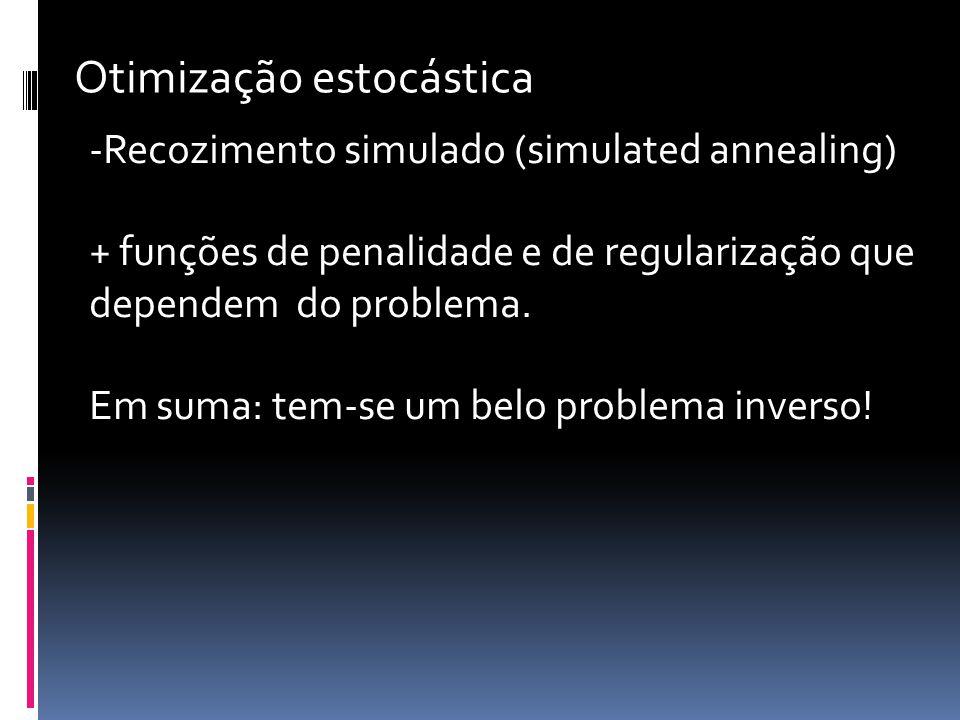 -Recozimento simulado (simulated annealing) + funções de penalidade e de regularização que dependem do problema.
