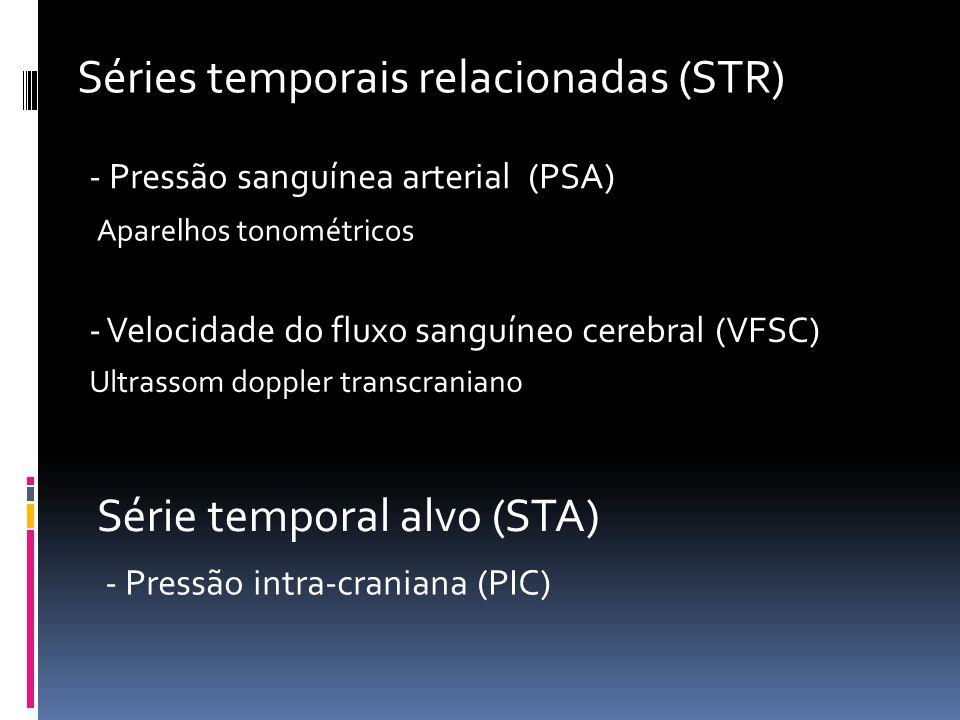 Séries temporais relacionadas (STR) - Pressão sanguínea arterial (PSA) - Velocidade do fluxo sanguíneo cerebral (VFSC) Ultrassom doppler transcraniano Aparelhos tonométricos Série temporal alvo (STA) - Pressão intra-craniana (PIC)