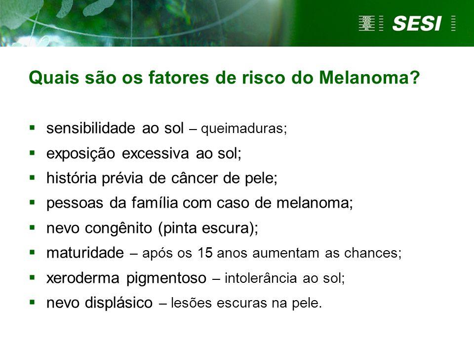  sensibilidade ao sol – queimaduras;  exposição excessiva ao sol;  história prévia de câncer de pele;  pessoas da família com caso de melanoma; 