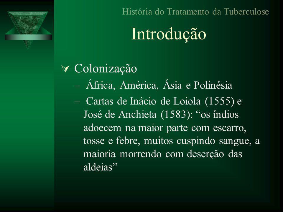 Introdução  Colonização – África, América, Ásia e Polinésia – Cartas de Inácio de Loiola (1555) e José de Anchieta (1583): os índios adoecem na maior parte com escarro, tosse e febre, muitos cuspindo sangue, a maioria morrendo com deserção das aldeias História do Tratamento da Tuberculose