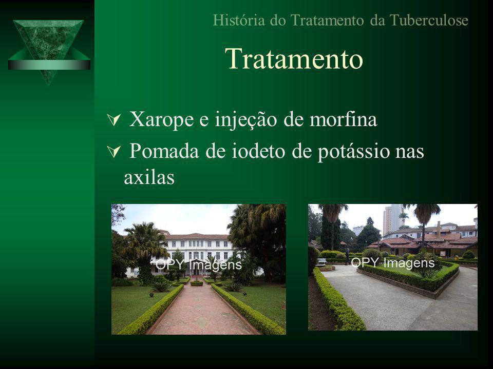 Tratamento  Xarope e injeção de morfina  Pomada de iodeto de potássio nas axilas História do Tratamento da Tuberculose