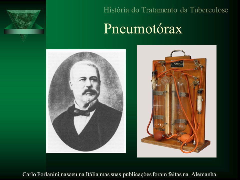 Pneumotórax História do Tratamento da Tuberculose Carlo Forlanini nasceu na Itália mas suas publicações foram feitas na Alemanha