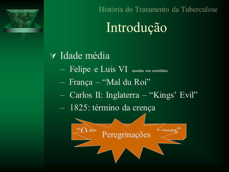 Introdução  Idade média – Felipe e Luis VI moedas nos escrófulos – França – Mal du Roi – Carlos II: Inglaterra – Kings' Evil – 1825: término da crença História do Tratamento da Tuberculose O rei te toca e Deus te cura Peregrinações
