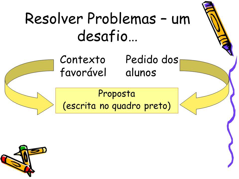Resolver Problemas – um desafio… Proposta (escrita no quadro preto) Contexto favorável Pedido dos alunos