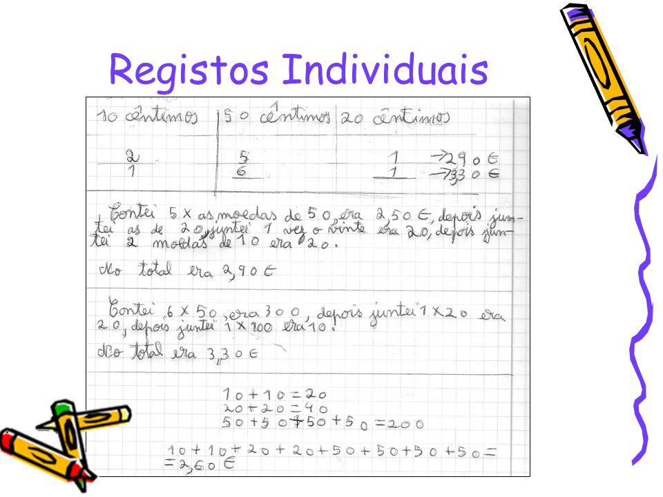 Nos cadernos… Registos Individuais