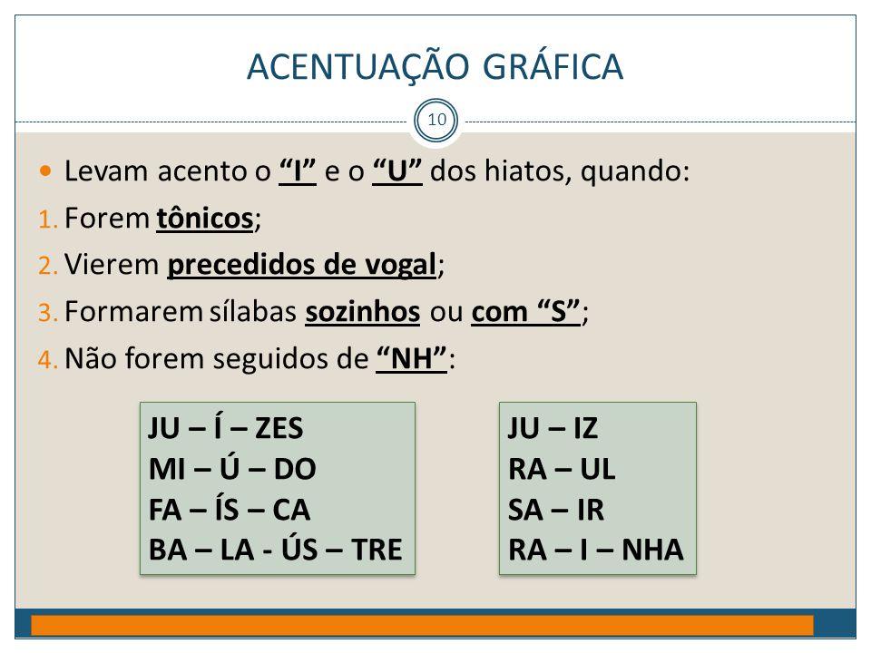 """ACENTUAÇÃO GRÁFICA Prof. Jorge Henrique - 2009 10  Levam acento o """"I"""" e o """"U"""" dos hiatos, quando: 1. Forem tônicos; 2. Vierem precedidos de vogal; 3."""