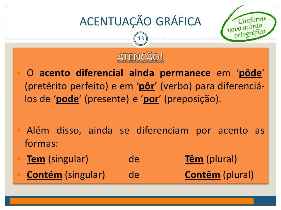 ACENTUAÇÃO GRÁFICA Prof. Jorge Henrique - 2009 13