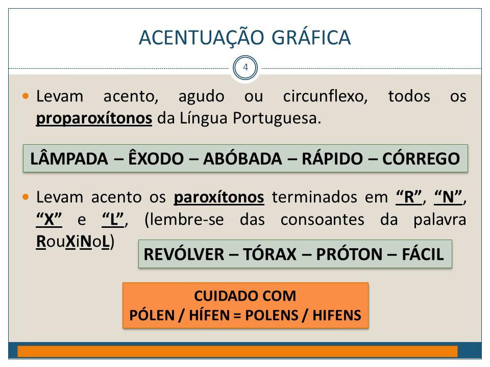 ACENTUAÇÃO GRÁFICA Prof. Jorge Henrique - 2009 4  Levam acento, agudo ou circunflexo, todos os proparoxítonos da Língua Portuguesa.  Levam acento os