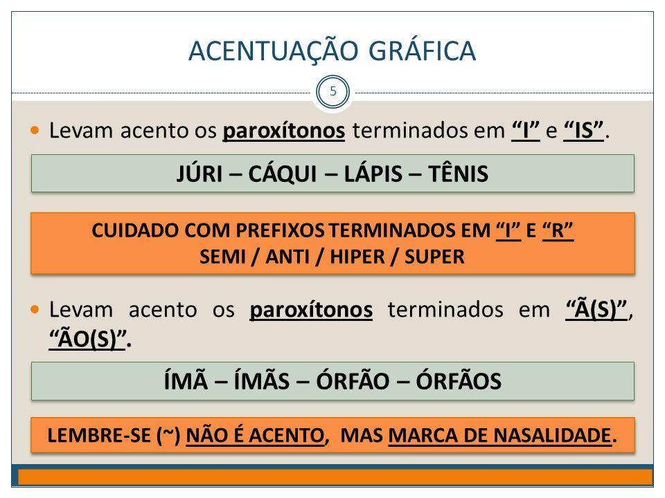 """ACENTUAÇÃO GRÁFICA Prof. Jorge Henrique - 2009 5  Levam acento os paroxítonos terminados em """"I"""" e """"IS"""".  Levam acento os paroxítonos terminados em """""""