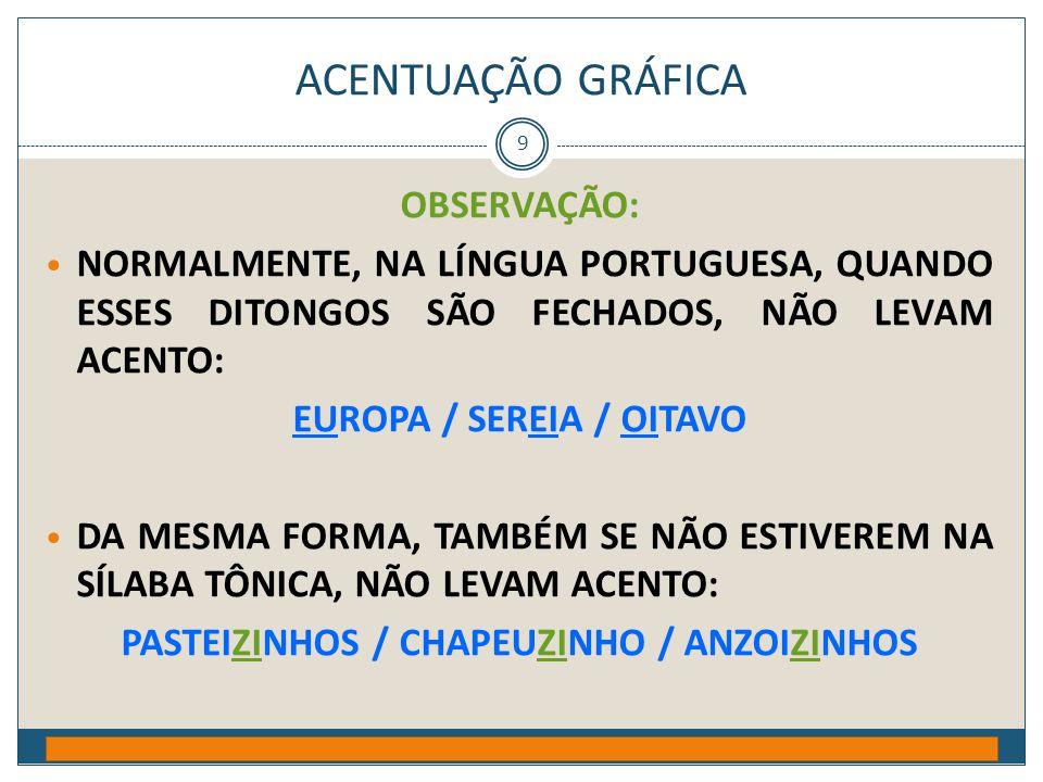 ACENTUAÇÃO GRÁFICA Prof. Jorge Henrique - 2009 9 OBSERVAÇÃO: • NORMALMENTE, NA LÍNGUA PORTUGUESA, QUANDO ESSES DITONGOS SÃO FECHADOS, NÃO LEVAM ACENTO