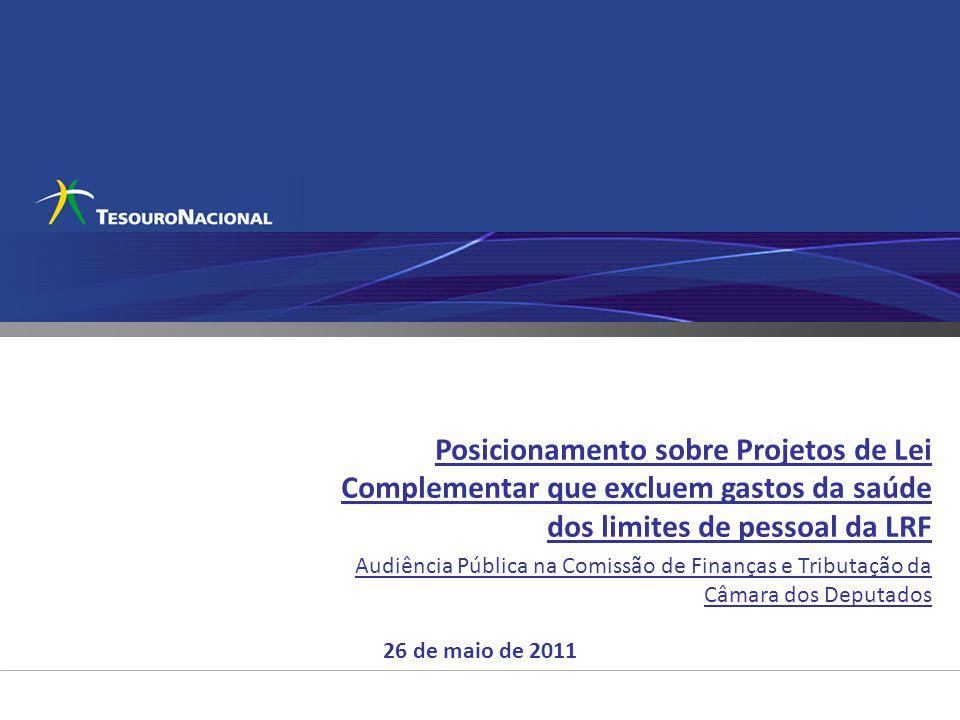 Posicionamento sobre Projetos de Lei Complementar que excluem gastos da saúde dos limites de pessoal da LRF Audiência Pública na Comissão de Finanças e Tributação da Câmara dos Deputados 26 de maio de 2011