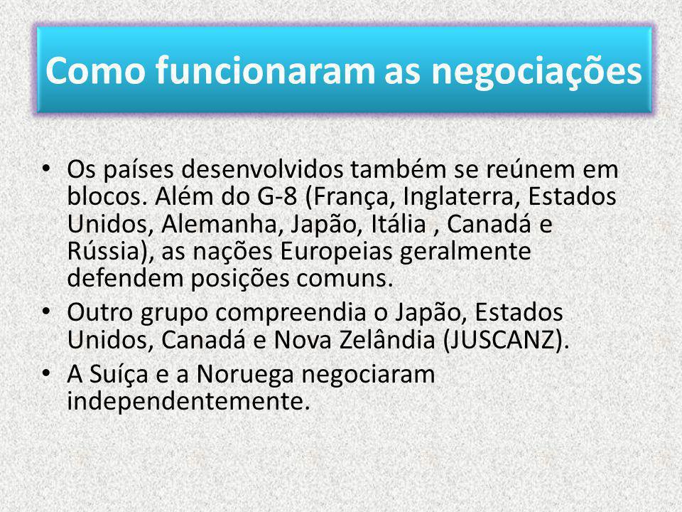Como funcionaram as negociações • Os países desenvolvidos também se reúnem em blocos.