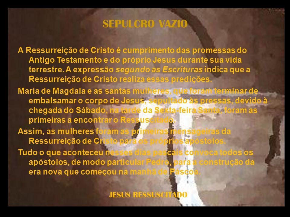 JESUS RESSUSCITADO SEPULCRO VAZIO A Ressurreição de Cristo é cumprimento das promessas do Antigo Testamento e do próprio Jesus durante sua vida terres