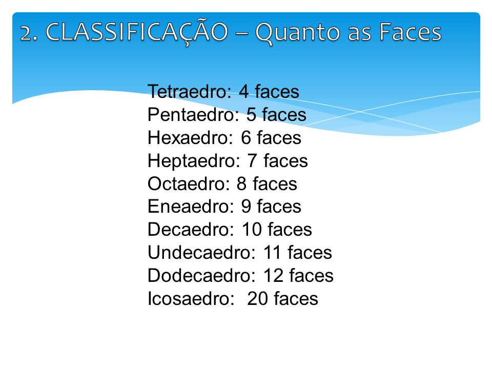 Tetraedro: 4 faces Pentaedro: 5 faces Hexaedro: 6 faces Heptaedro: 7 faces Octaedro: 8 faces Eneaedro: 9 faces Decaedro: 10 faces Undecaedro: 11 faces