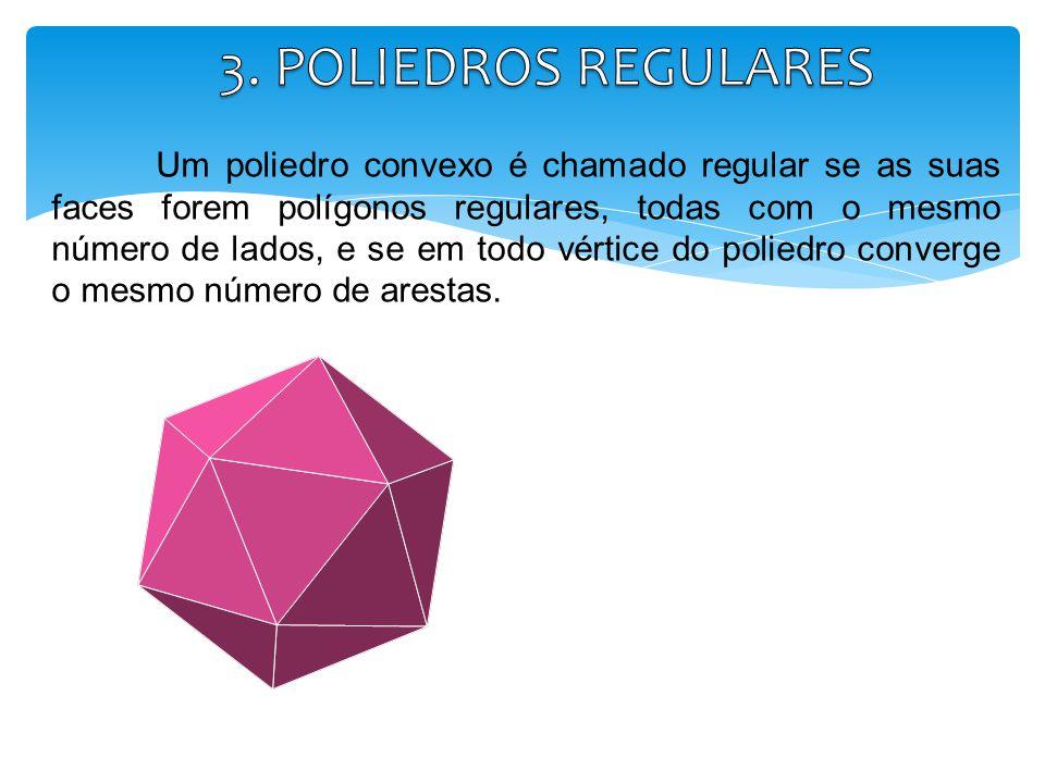 Um poliedro convexo é chamado regular se as suas faces forem polígonos regulares, todas com o mesmo número de lados, e se em todo vértice do poliedro