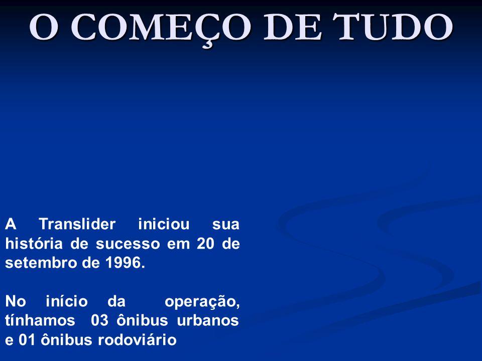 O COMEÇO DE TUDO A Translider iniciou sua história de sucesso em 20 de setembro de 1996. No início da operação, tínhamos 03 ônibus urbanos e 01 ônibus
