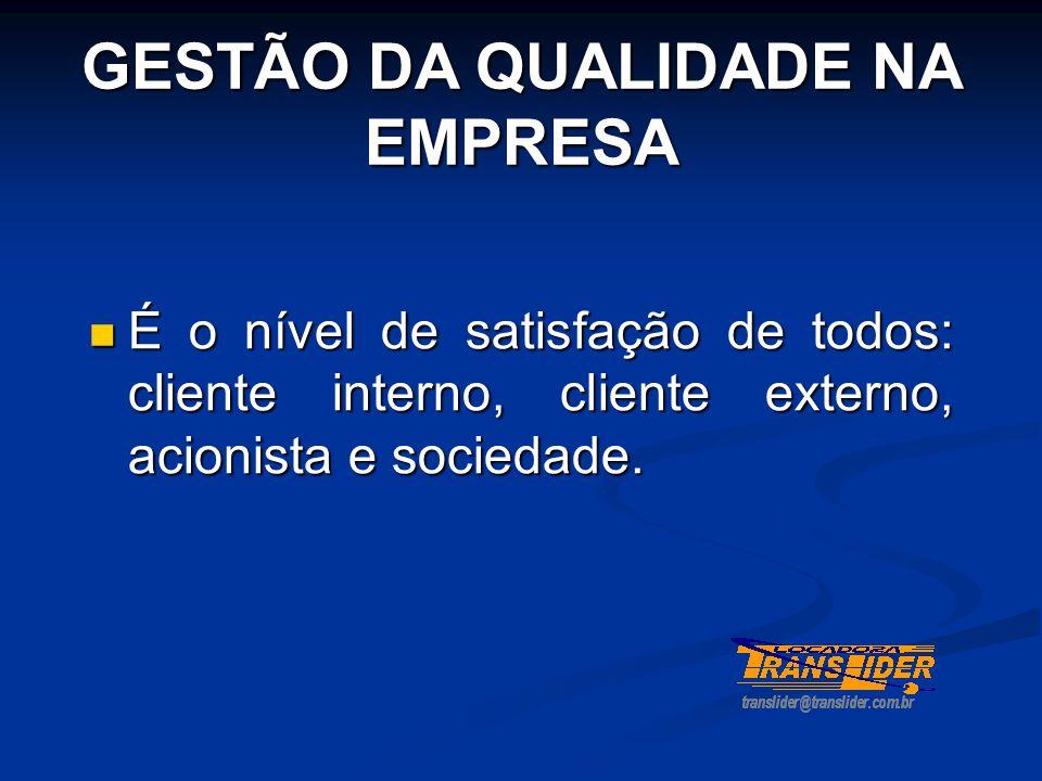 GESTÃO DA QUALIDADE NA EMPRESA  É o nível de satisfação de todos: cliente interno, cliente externo, acionista e sociedade.