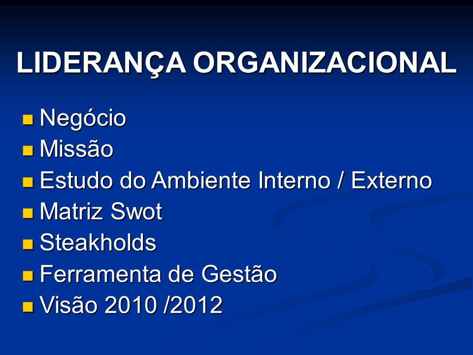 LIDERANÇA ORGANIZACIONAL  Negócio  Missão  Estudo do Ambiente Interno / Externo  Matriz Swot  Steakholds  Ferramenta de Gestão  Visão 2010 /201