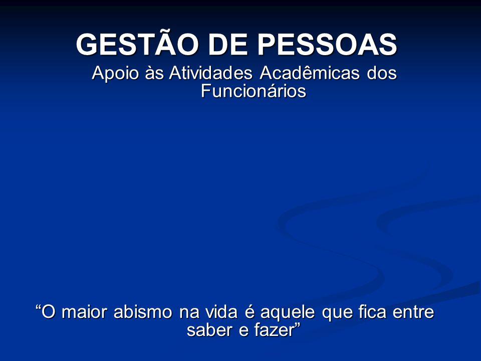 """Apoio às Atividades Acadêmicas dos Funcionários GESTÃO DE PESSOAS """"O maior abismo na vida é aquele que fica entre saber e fazer"""""""