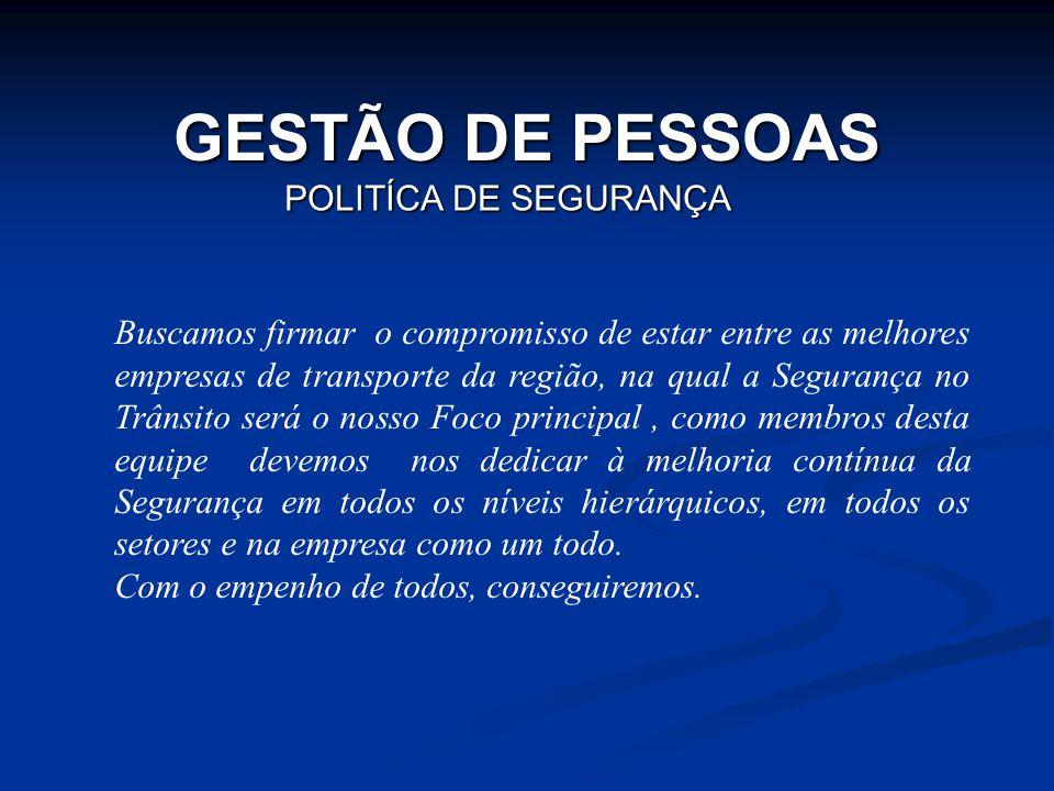 POLITÍCA DE SEGURANÇA GESTÃO DE PESSOAS Buscamos firmar o compromisso de estar entre as melhores empresas de transporte da região, na qual a Segurança