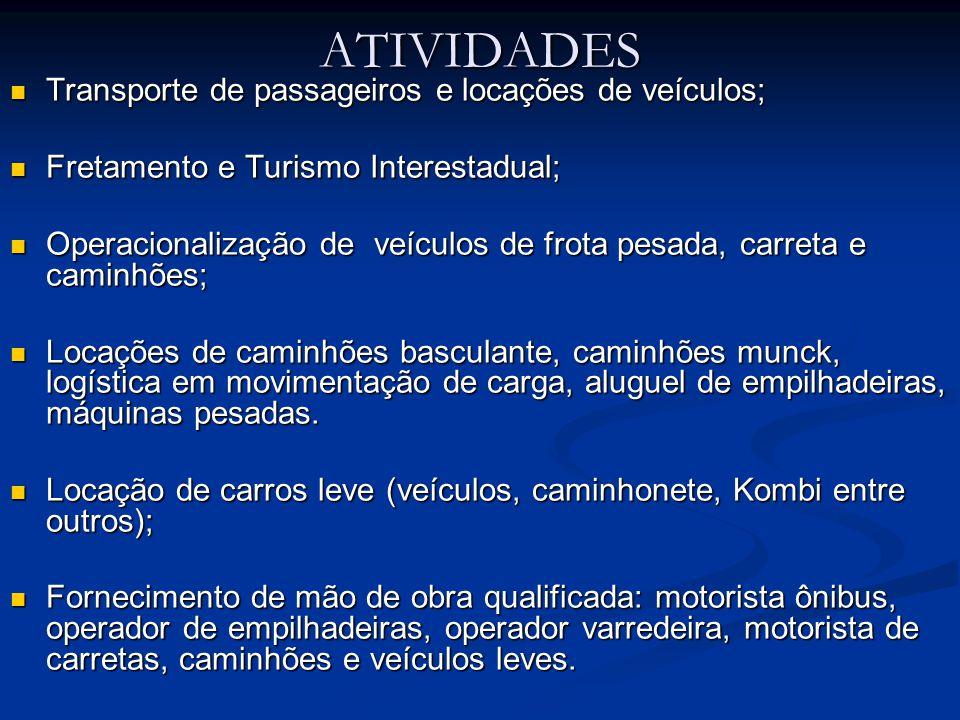 ATIVIDADES  Transporte de passageiros e locações de veículos;  Fretamento e Turismo Interestadual;  Operacionalização de veículos de frota pesada,