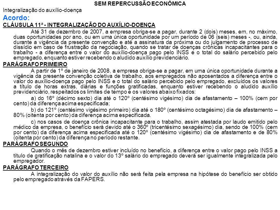 SEM REPERCUSSÃO ECONÔMICA Integralização do auxílio-doença Acordo: CLÁUSULA 11ª - INTEGRALIZAÇÃO DO AUXÍLIO-DOENÇA Até 31 de dezembro de 2007, a empre
