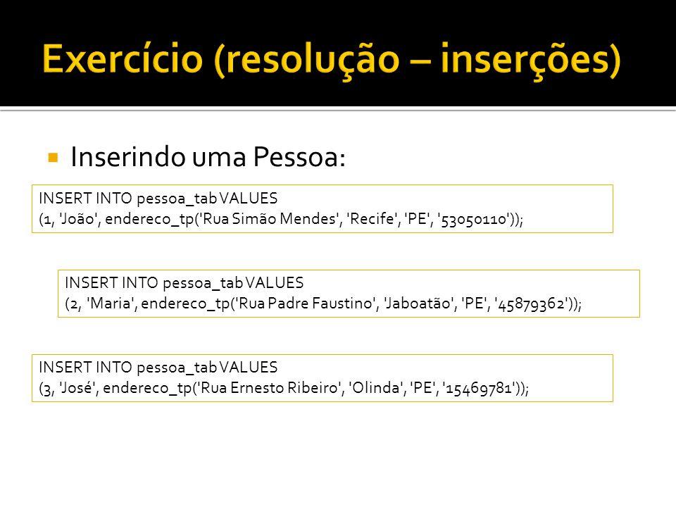  Inserindo uma Pessoa: INSERT INTO pessoa_tab VALUES (1, João , endereco_tp( Rua Simão Mendes , Recife , PE , 53050110 )); INSERT INTO pessoa_tab VALUES (2, Maria , endereco_tp( Rua Padre Faustino , Jaboatão , PE , 45879362 )); INSERT INTO pessoa_tab VALUES (3, José , endereco_tp( Rua Ernesto Ribeiro , Olinda , PE , 15469781 ));