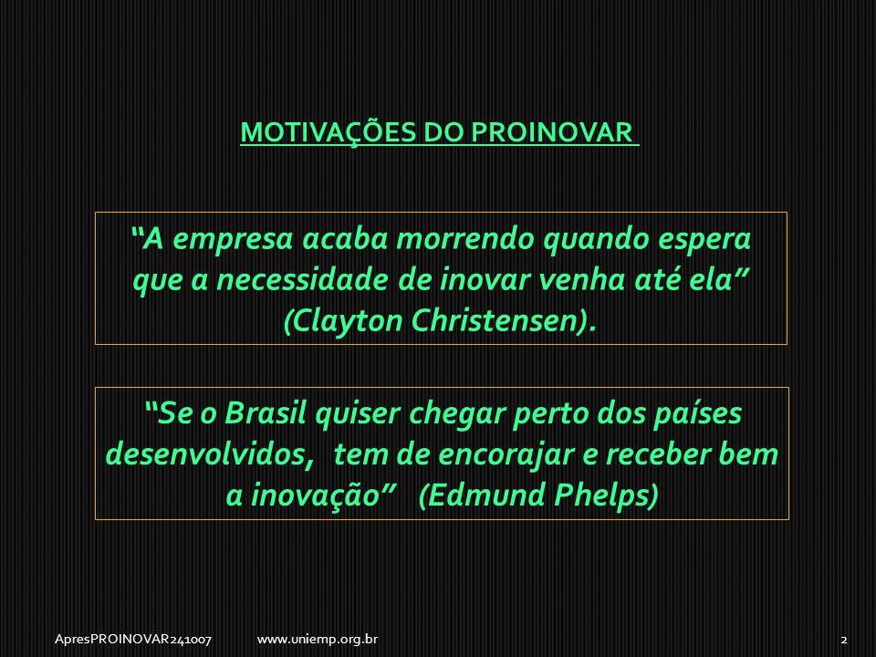 A empresa acaba morrendo quando espera que a necessidade de inovar venha até ela (Clayton Christensen).
