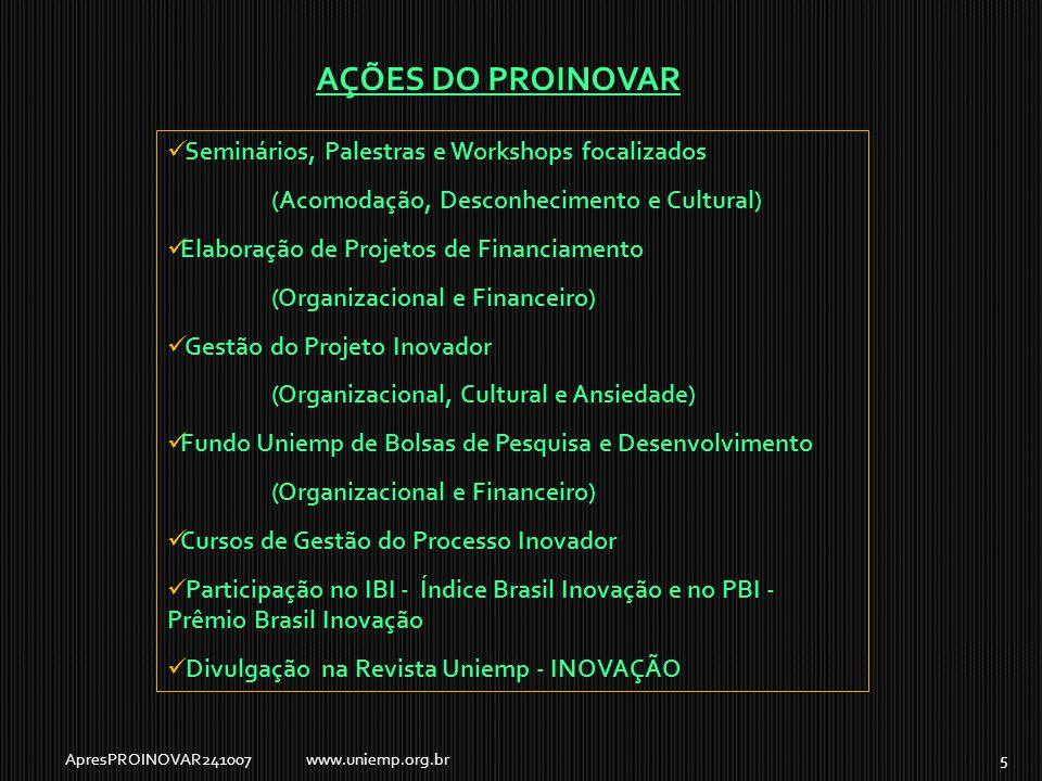  Seminários, Palestras e Workshops focalizados (Acomodação, Desconhecimento e Cultural)  Elaboração de Projetos de Financiamento (Organizacional e Financeiro)  Gestão do Projeto Inovador (Organizacional, Cultural e Ansiedade)  Fundo Uniemp de Bolsas de Pesquisa e Desenvolvimento (Organizacional e Financeiro)  Cursos de Gestão do Processo Inovador  Participação no IBI - Índice Brasil Inovação e no PBI - Prêmio Brasil Inovação  Divulgação na Revista Uniemp - INOVAÇÃO AÇÕES DO PROINOVAR ApresPROINOVAR2410075www.uniemp.org.br