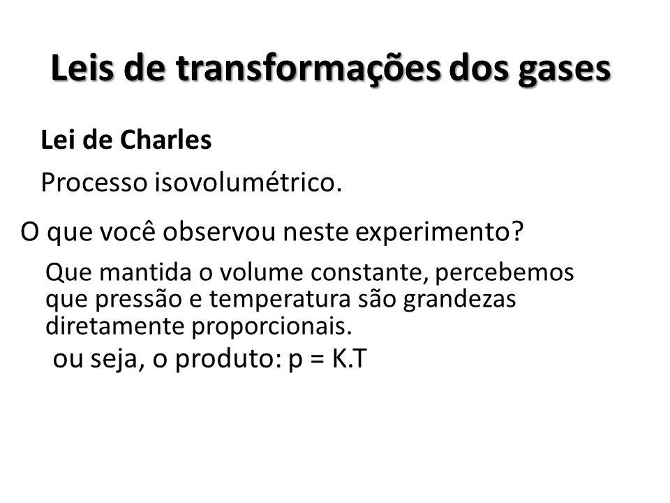 Leis de transformações dos gases Lei de Charles Processo isovolumétrico. O que você observou neste experimento? Que mantida o volume constante, perceb
