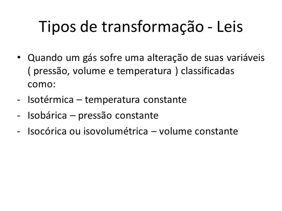 Tipos de transformação - Leis •Q•Quando um gás sofre uma alteração de suas variáveis ( pressão, volume e temperatura ) classificadas como: -I-Isotérmi