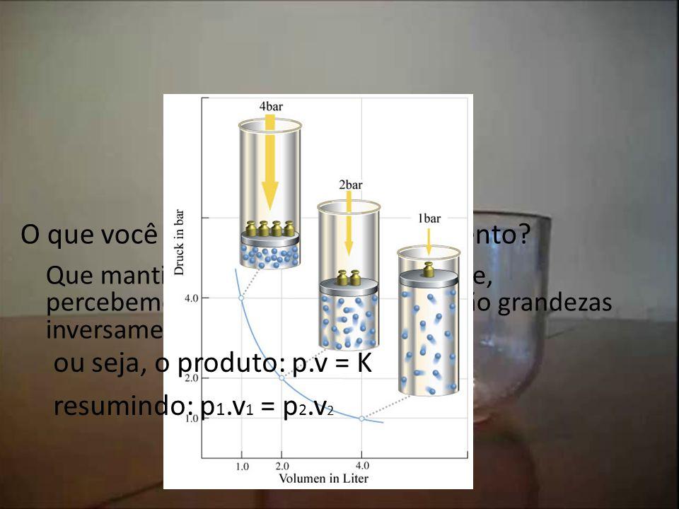 Leis de transformações dos gases Lei de Boyle – Mariotte Processo isotérmico. O que você observou neste experimento? Que mantida a temperatura constan