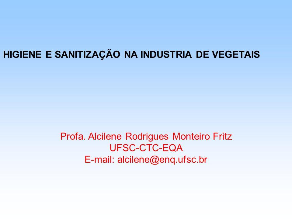 HIGIENE E SANITIZAÇÃO NA INDUSTRIA DE VEGETAIS Profa. Alcilene Rodrigues Monteiro Fritz UFSC-CTC-EQA E-mail: alcilene@enq.ufsc.br